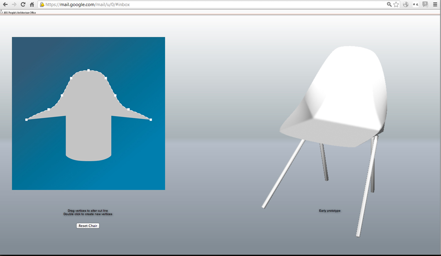 Editing the blueprint on the left directly modified the 3D chair